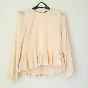 Zara pleated ruffle hem blouse